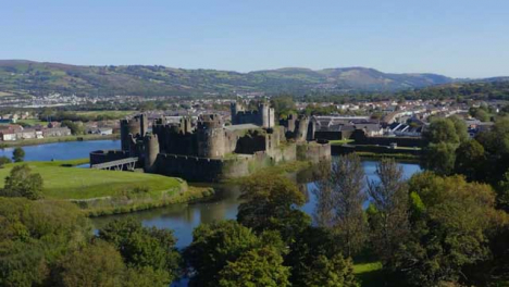 Drone-Shot-Orbiting-Caerphilly-Castle-and-Moat-In-Wales-Short-Version-2-of-2