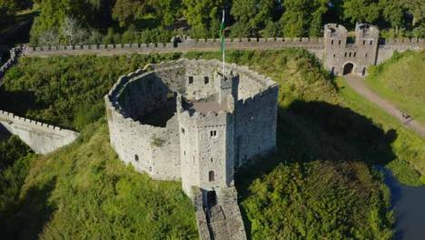 Drone-Shot-Orbiting-Around-the-Historic-Cardiff-Castle-Short-Version-1-of-2