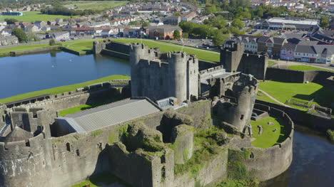 Drone-Shot-Orbiting-Caerphilly-Castle-09