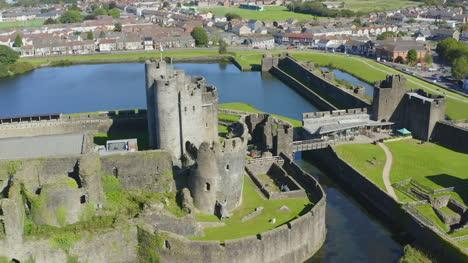 Drone-Shot-Orbiting-Caerphilly-Castle-10