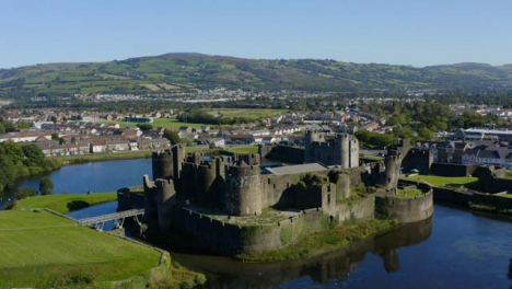 Drone-Shot-Approaching-Caerphilly-Castle-01