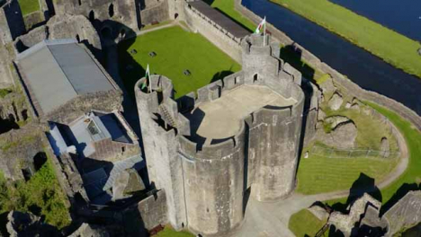 Drone-Shot-Approaching-Caerphilly-Castle-02