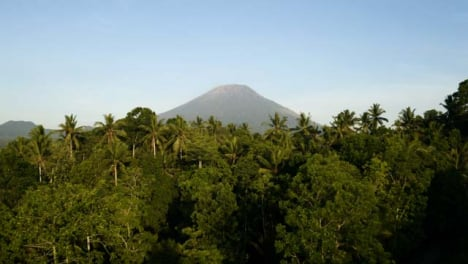 Drone-Shot-Passing-Over-Trees-and-Looking-Towards-Mount-Agung-Volcano