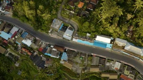 Drone-Shot-Tracking-Motorbike-On-Road-Near-Tegallalang-Rice-Terraces