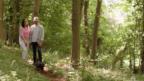 Weitschuss-Eines-Paares-Mittleren-Alters-Das-Durch-Malerische-Wälder-Spaziert-