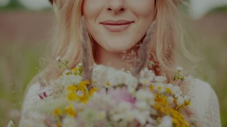 Portrait-Of-Smiling-Boho-Hippie-Woman-Close-Up