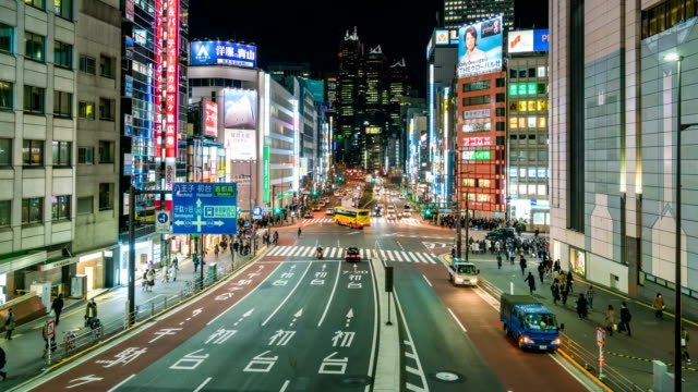 4K-Time-Lapse-:-pedestrian-crowd-and-traffic-at-Shinjuku-a-famous-place-in-Tokyo-area-at-night