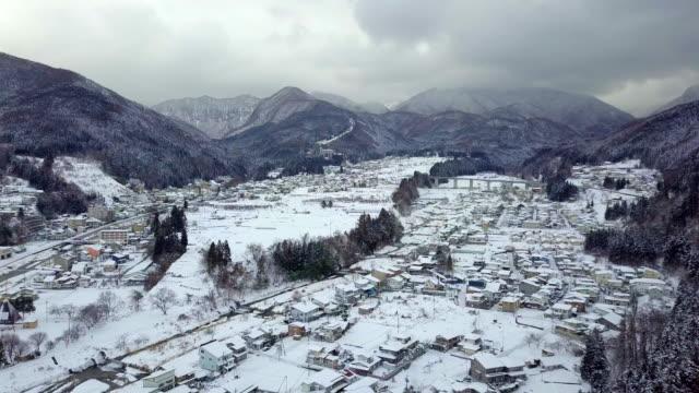 Aerial-view-of-snow-in-winter-at-Yamanouchi-in-Nagano-Japan