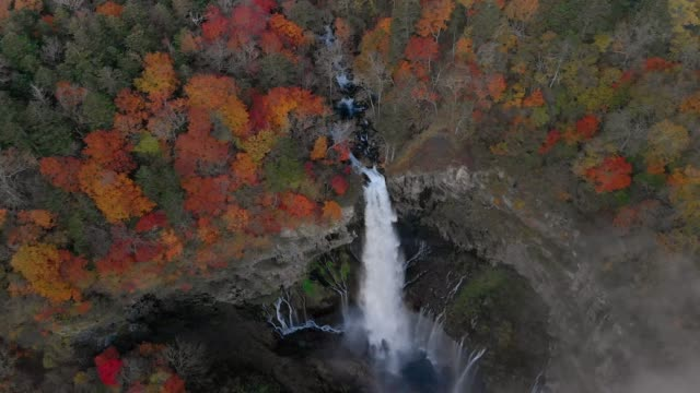 Aerial-view-of-Kegon-waterfall-and-autumn-foliage-Nikko-Tochigi-Japan