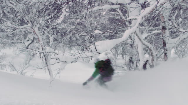 Snowboard-Downhill-Through-Trees-in-Backcountry-Powder-Winter-Conditions