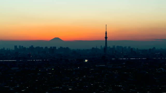 Time-lapse-Tokyo-Skyline-and-Fuji-mountain-from-day-to-night-sunset