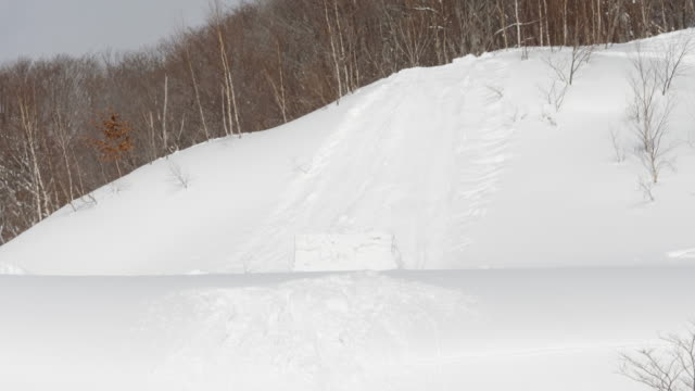 Snowboarder-Crash-Wreck-into-Tree-Causing-Him-to-Violently-Flip---Possible-Dangerous-Injury-in-Slow-Motion