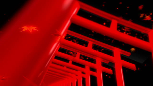 Red-Torii-Gates-in-Japan-Traditional-Japanese-Animation-Loop-