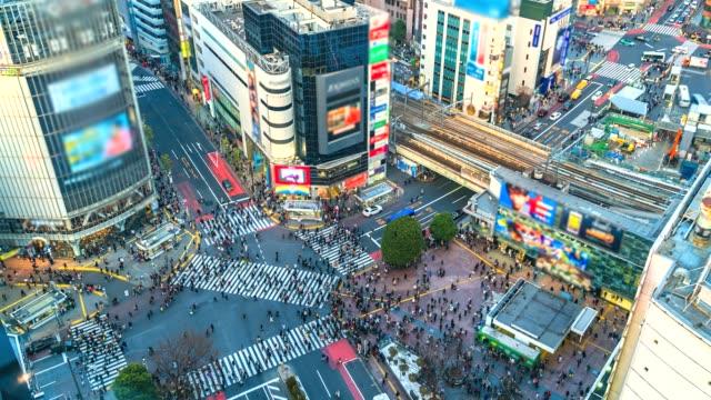 4K-Time-lapse-Aerial-view-of-Shibuya-crossing-in-Tokyo-of-Japan