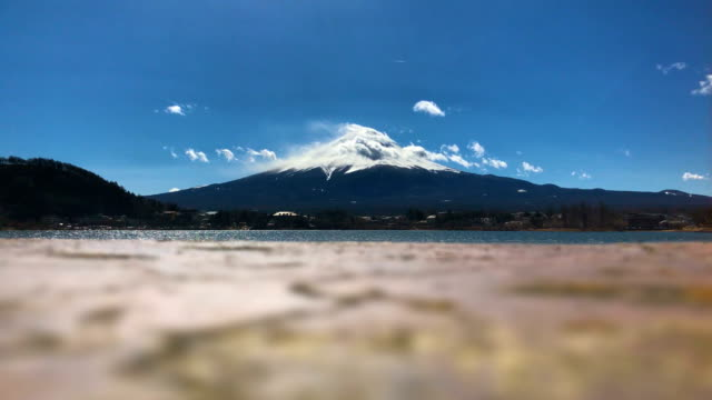 Timelapse-Shot-:-Low-position-and-Selective-focus-Lake-Side-with-Fuji-mountain-Japan