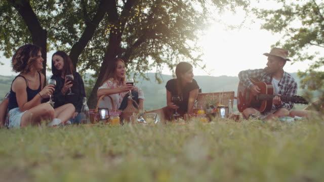 Grupo-de-amigos-pasar-tiempo-haciendo-un-picnic-y-barbacoa-filmada-en-cámara-lenta