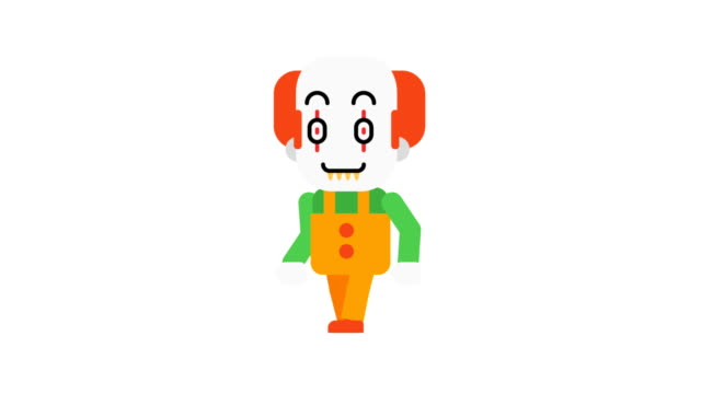 Clown-happy-walking-and-smiling-Halloween-character-Alpha-channel-