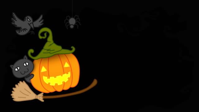 Conjunto-de-traje-de-linterna-de-calabaza-de-Halloween-jack-o-ilustración-de-la-idea-de-concepto-aislado-en-fondo-oscuro-del-miedo-sin-fisuras-bucle-de-animación-4K-con-espacio-de-copia-de-la-bruja
