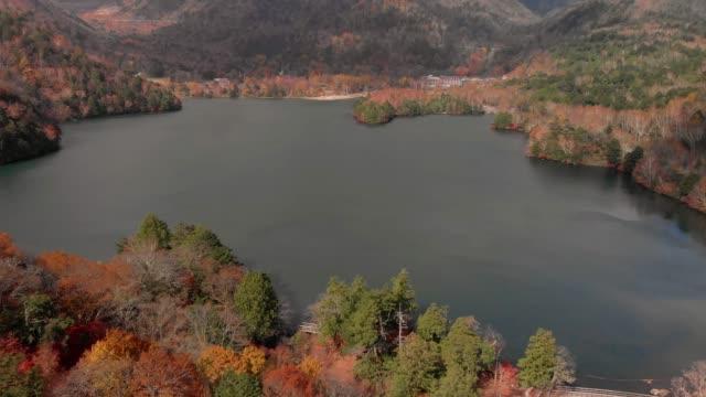 Aerial-view-of-lake-Yunoko-and-autumn-foliage-Nikko-Tochigi-Japan