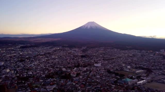 Aerial-view-of-Fuji-mountain-at-sunset-in-Fujikawaguchiko-Yamanashi-Urban-city-Japan-Landscape-with-architecture-buildings