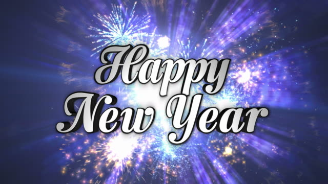 Feliz-Año-Nuevo-texto-en-baile-discoteca-túnel-In/Out-bucle-canal-alfa-4-K