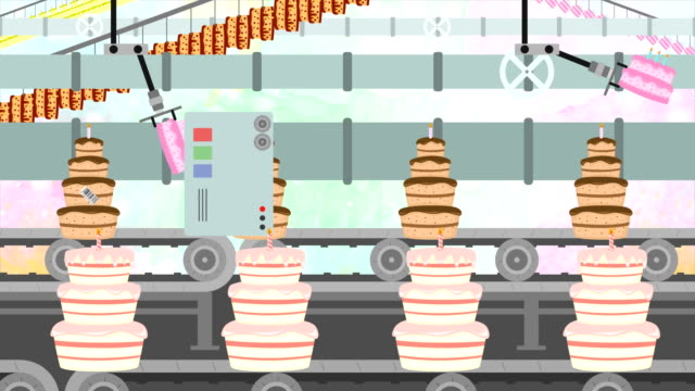 Many-Birthday-Cakes-in-a-Factory-Conveyor-in-Cartoon-Style