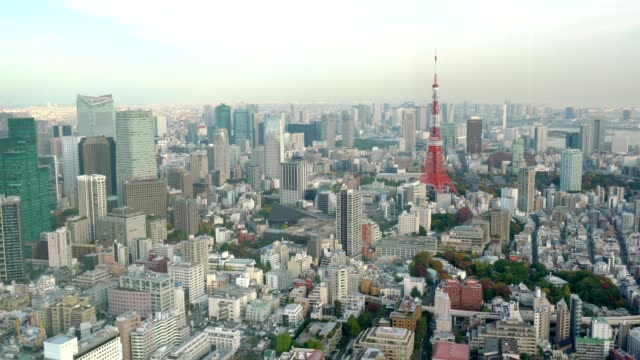 Panoramic-view-of-Tokyo-cityscape-in-autumn-season-with-Tokyo-Tower