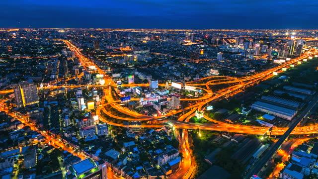 4K-Time-lapse-Expressway-whit-highway-motorway-top-view