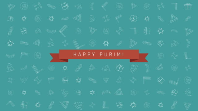 Purim-holiday-flat-design-animation-background-with-traditional-outline-icon-symbols-and-english-text