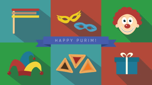 Purim-holiday-flat-design-animation-icon-set-with-traditional-symbols-and-text-in-english