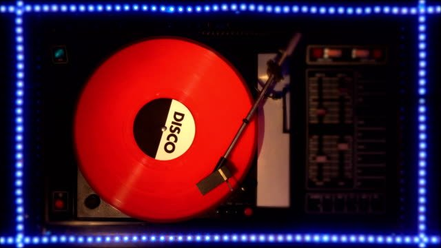 Vinyl-record-on-the-pleer-Plays-a-song-from-an-old-turntable-