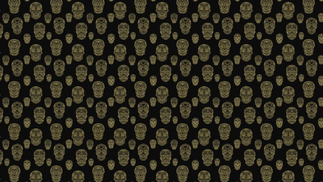 Animation-of-seamless-pattern-with-sugar-skulls-Day-of-the-dead-Dia-de-los-muertos