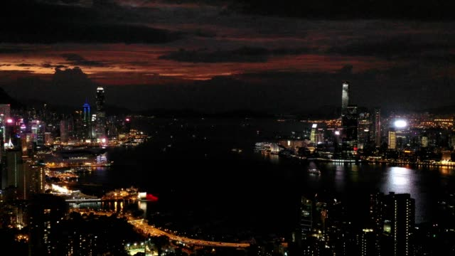 4k-video-aerial-scene-of-Hong-Kong-city-with-Victoria-bay-scene-in-night