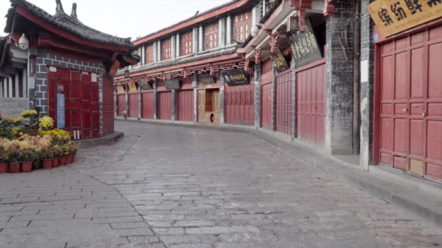 Lijiang-alte-Stadt-Straßen-am-Morgen-Provinz-Yunnan-China-