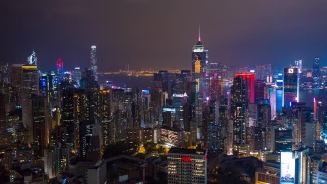 Nacht-Beleuchtung-Innenstadt-Antenne-Timelapse-Panorama-4k-Hongkong