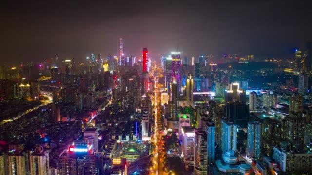 china-de-timelapse-4k-de-noche-shenzhen-tráfico-céntrico-calle-panorama-aéreo