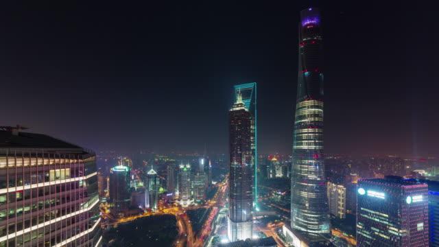 China-Nacht-Beleuchtung-Stadtbild-shanghai-downtown-Dach-Top-Panorama-4k-Zeitraffer