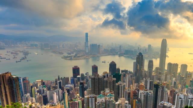 Hong-Kong-Stadtbild-hohen-Aussichtspunkt-Victoria-Peak-Of-Hong-Kong-China-4K-Zeitraffer-(Pan-erschossen)