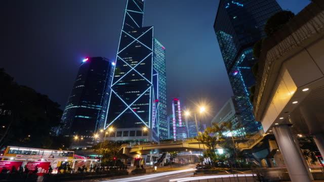 Nacht-wenig-befahrenen-Straße-4-k-Zeit-verfallen-from-Hong-Kong-City-centre