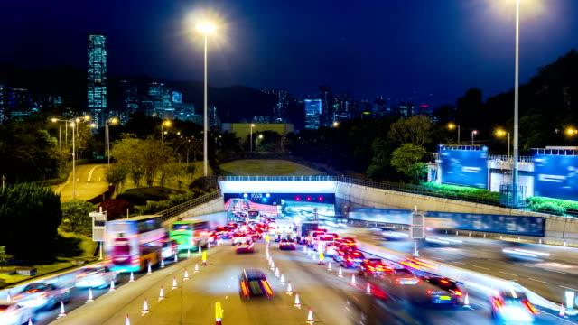 Busy-Traffic-Going-Into-Tunnel-at-Night-4k-Tight-Still-Shot-