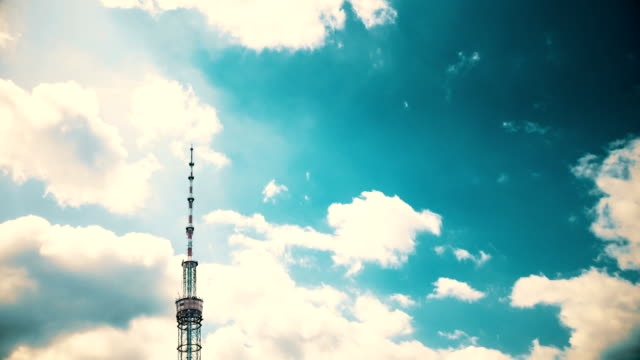 TV-tower-against-the-background-of-Running-clouds-Time-Lapse-