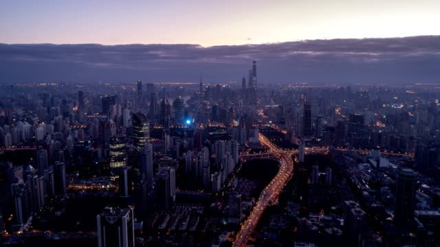 Aerial-view-of-Shanghai-at-dawn-time-lapse