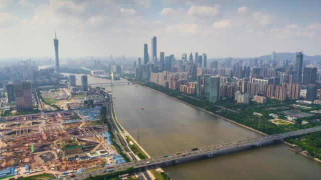 China-verano-día-guangzhou-paisaje-panorama-centro-aéreo-río-Perla-4k-timelapse
