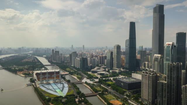 China-día-tiempo-guangzhou-ciudad-haixinsha-centro-isla-zhujiang-new-town-panorama-aéreo-4k-timelapse
