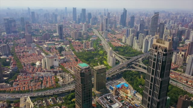china-day-time-shanghai-cityscape-famous-traffic-road-junction-aerial-panorama-4k