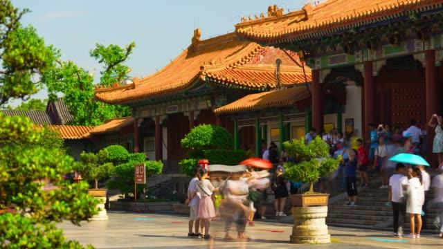 china-sunny-day-zhuhai-famous-new-yuan-ming-crowded-park-panorama-4k-timelapse
