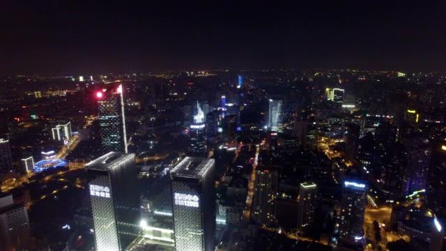 AERIAL-shot-of-Shanghai-cityscape-and-skyline-at-night-Shanghai-China