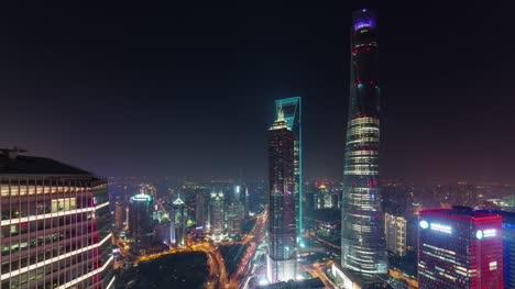china-night-illumination-cityscape-shanghai-downtown-roof-top-panorama-4k-time-lapse