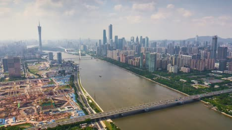 china-summer-day-guangzhou-cityscape-pearl-riverside-aerial-downtown-panorama-4k-timelapse