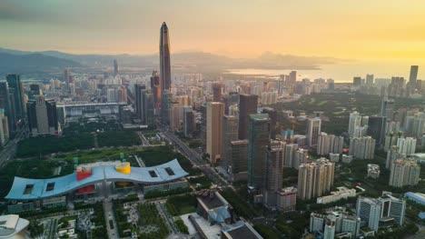 china-shenzhen-cityscape-KK100-building-sunset-sky-downtown-city-hall-aerial-panorama-4k-timelapse